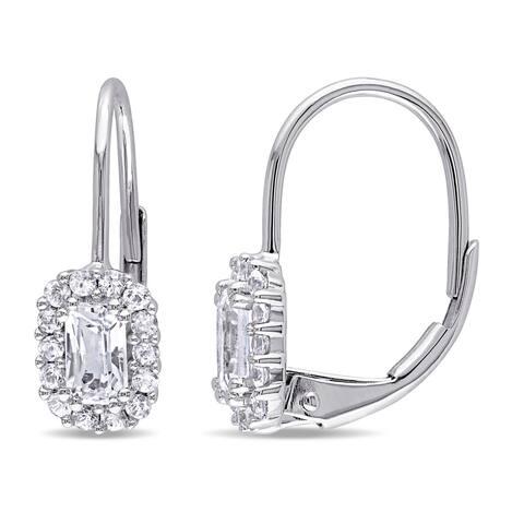 Miadora 10k White Gold White Sapphire Halo Earrings
