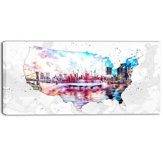 Design Art 'City Sunset on the Map' Canvas Art Print - 32x16 Inches
