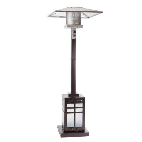 Square Hammered Bronze Illuminated Patio Heater