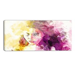 Design Art 'Seductive Stare' Sensual Canvas Art Print - 32x16 Inches