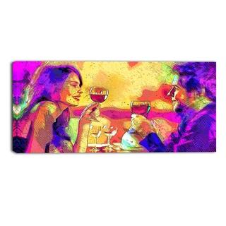 Design Art 'Cheers' Sensual Canvas Art Print - 32x16 Inches