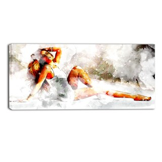 Design Art 'Lay Back and Relax' Sensual Canvas Art Print - 32x16 Inches