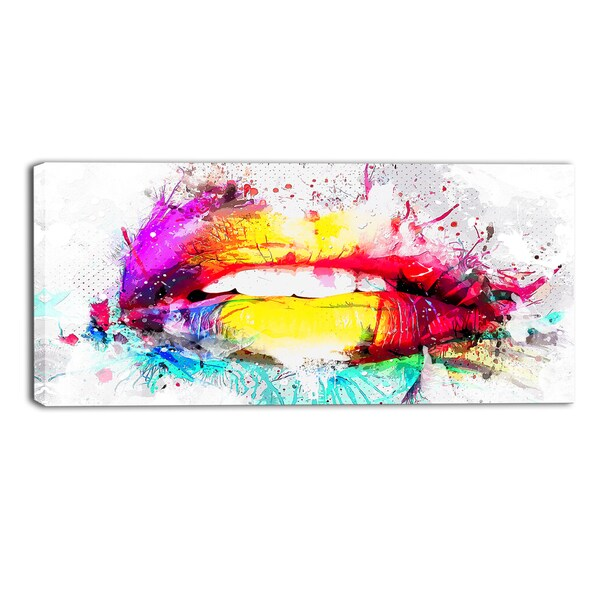 DesignArt 'Vibrant Lips' Sensual Canvas Art Print - 40x20 Inches - 40 in. wide x 20 in. high - 1 panel