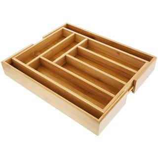 Organic Bamboo Expandable 6-8 Slots Organizer / Cutlery Tray