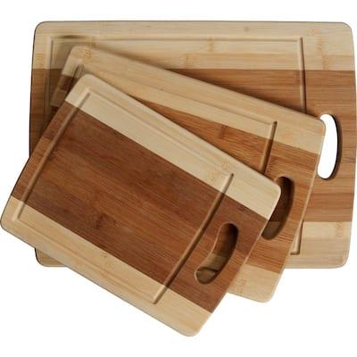 3-piece Cutting Board Set - Organic Bamboo Cutlery Chopping Board Set with Drip Groove