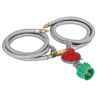 Bayou Classic M2HPH Dual 36-inch Stainless Braided Hose and Regulator
