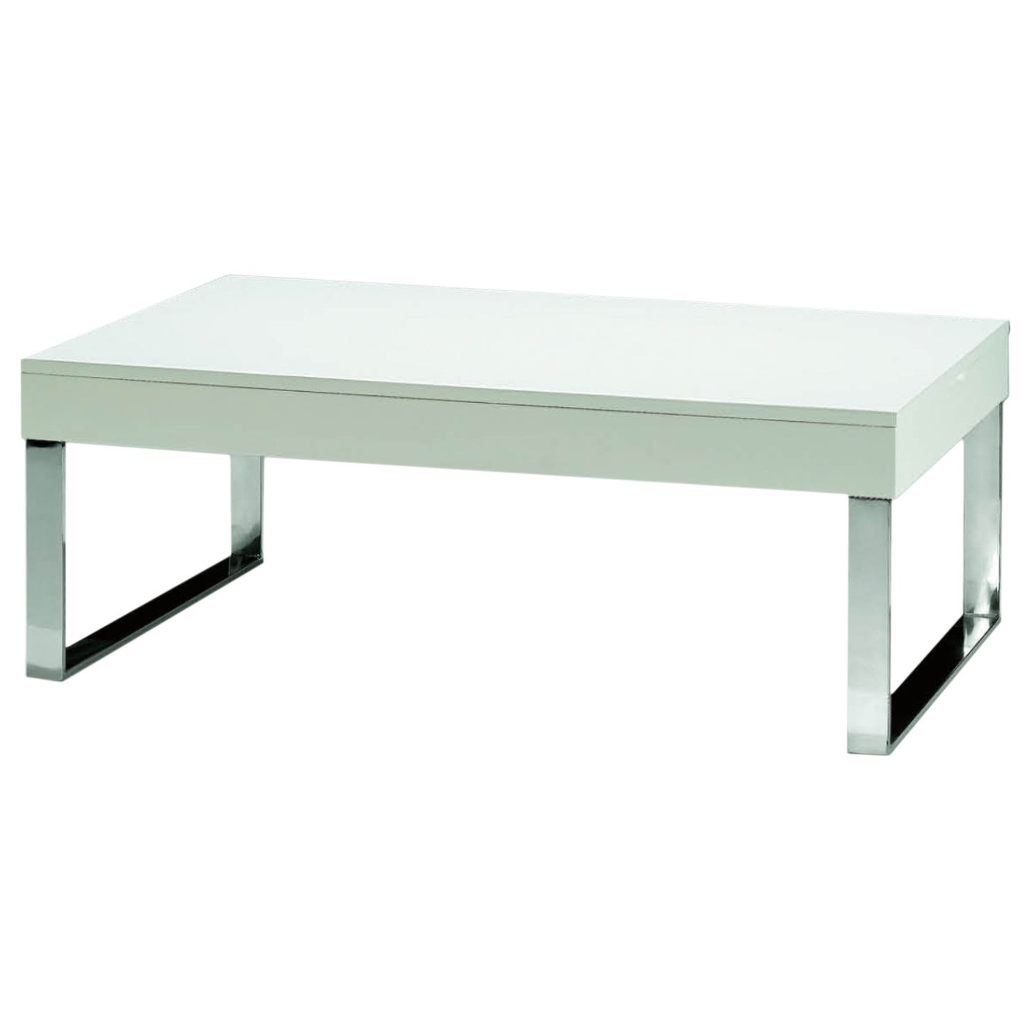 Luca Home Chrome White Lacquer Coffee Table (Luca Home Wh...