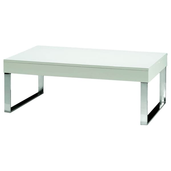 Luca Home Chrome White Lacquer Coffee Table