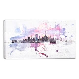 Design Art 'Sunset Splash' Cityscape Canvas Art Print - 32x16 Inches