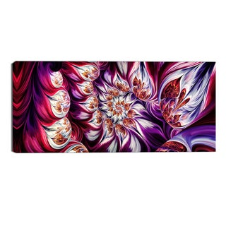 Design Art 'Lavender Floral Pyramid' Abstract Canvas Art Print - 32x16 Inches