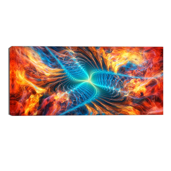 Design Art 'Orange and Blue Turbine' Modern Canvas Art Print - 32x16 Inches - 32 in. wide x 16 in. high