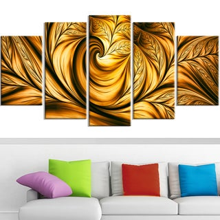 Design Art 'Golden Dream' Canvas Art Print - 60x32 Inches - 5 Panels
