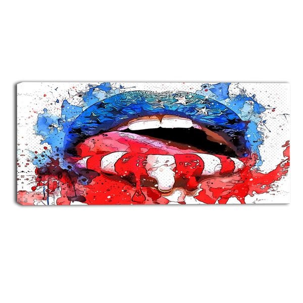 Design Art 'Red White and Blue Lips' Sensual Canvas Art Print - 40x20 Inches