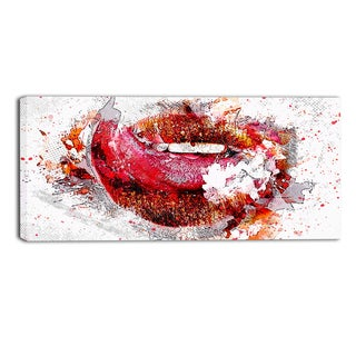 Design Art 'Orange and Red Lips' Sensual Canvas Art Print - 32x16 Inches