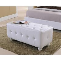 K & B White Faux Leather Upholstered Bench