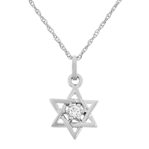 0.05 CT White Diamond Star Pendant in 10K White Gold