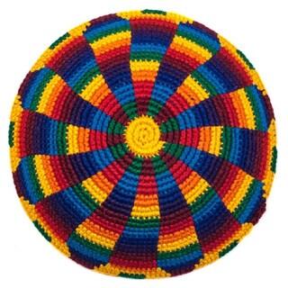 Handmade Rainbow Jewish Kippah/Yarmulke (Guatemala)
