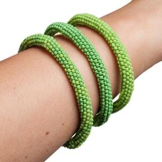 Hand-beaded Stackable Infinity Bracelets (Set of 3)