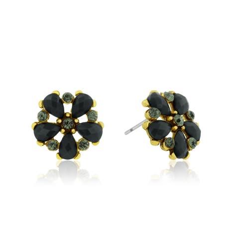 Adoriana Dainty Flower Crystal Earrings, Black