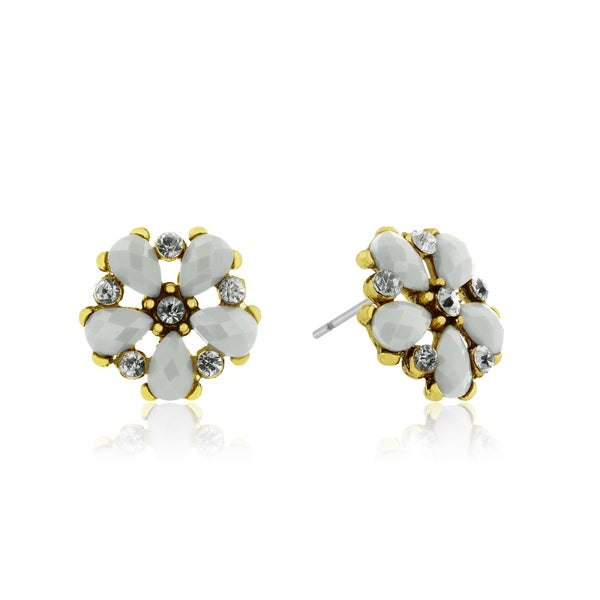 Adoriana Dainty Flower Crystal Earrings, White