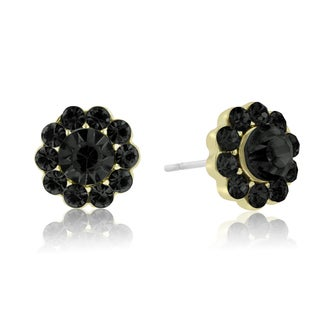 Adoriana Mini Flower Crystal Earrings, Black