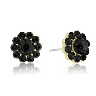 Adoriana Mini Flower Crystal Earrings, Black|https://ak1.ostkcdn.com/images/products/10528118/P17610708.jpg?impolicy=medium