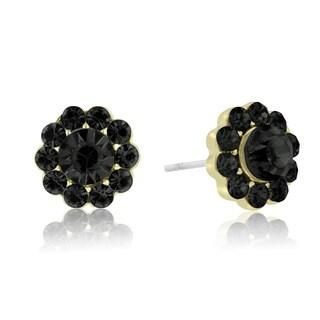 Adoriana Mini Flower Crystal Earrings, Black