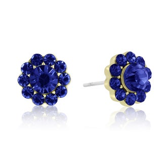 Adoriana Mini Flower Crystal Earrings, Blue