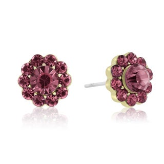 Adoriana Mini Flower Crystal Earrings, Pink