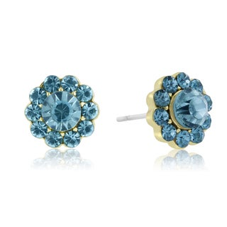 Adoriana Mini Flower Crystal Earrings, Turquoise