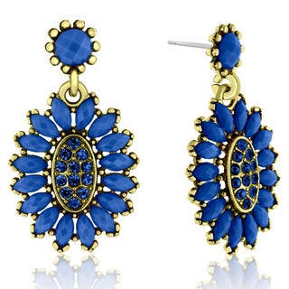 Adoriana Cluster Flower Crystal Earrings, Blue