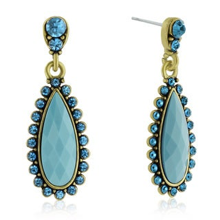 Adoriana Drop Crystal Earrings, Turquoise