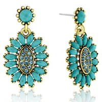 Adoriana Cluster Flower Crystal Earrings, Turquoise