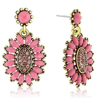 Adoriana Cluster Flower Crystal Earrings, Pink