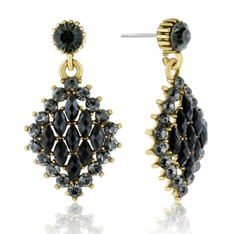 Adoriana Diamond Shaped Crystal Earrings, Black