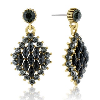 Adoriana Diamond Shaped Crystal Earrings, Black