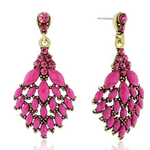 Adoriana Cascading Crystal Earrings, Pink