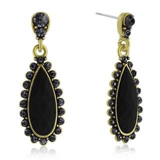 Adoriana Drop Crystal Earrings, Black