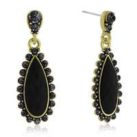 Adoriana Drop Crystal Earrings, Black