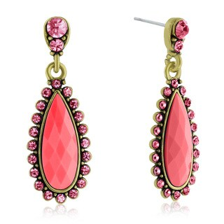 Adoriana Drop Crystal Earrings, Pink
