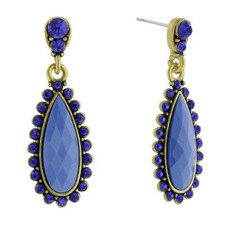 Adoriana Drop Crystal Earrings, Blue