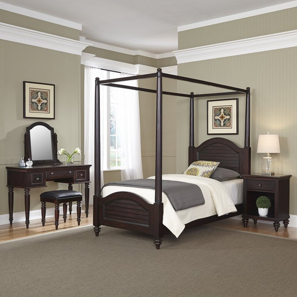 Bermuda Twin Canopy Bed, Night Stand, and Vanity with Bench by Home Styles