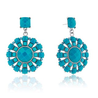 Adoriana Spring Crystal Earrings, Turquoise