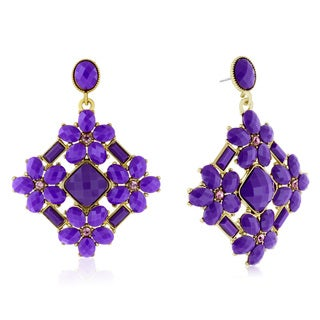 Adoriana Statement Crystal Earrings, Purple