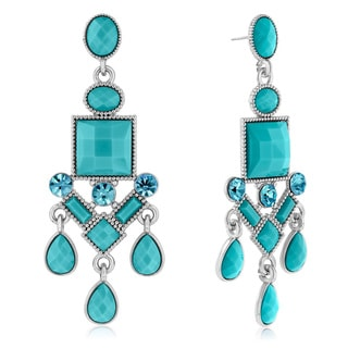 Adoriana Chandelier Crystal Earrings, Turquoise
