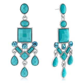 Adoriana Chandelier Crystal Earrings, Turquoise