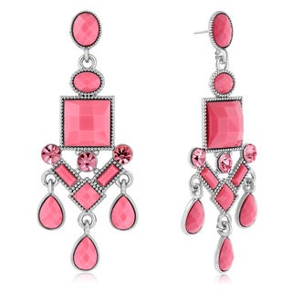 Adoriana Chandelier Crystal Earrings, Pink