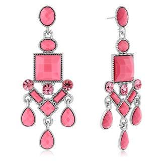 Adoriana Chandelier Crystal Earrings, Pink