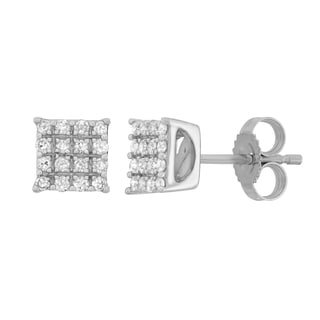 10K White Gold 1/5ct TDW Diamond Square Earrings
