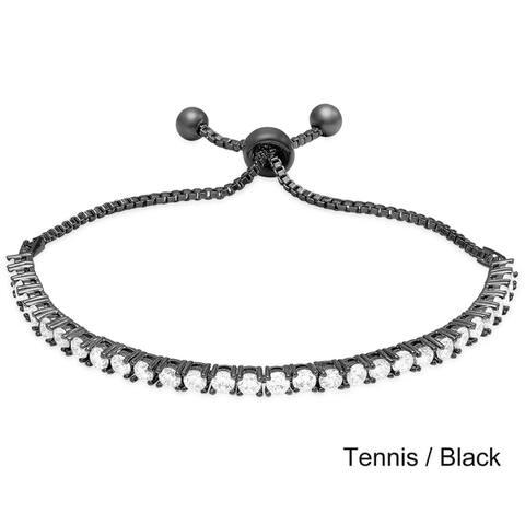 Dolce Giavonna Sterling Silver Cubic Zirconia Adjustable Slider Bracelet